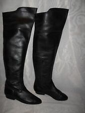 WOMENS BLACK PULL ON/ZIP SYNTHETIC LEATHER OVER KNEE BOOTS SIZE:5/38(WB464)