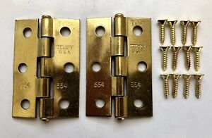 """pack Lot of 4 = 8 hinges Terry 2-1//2"""" x 2-1//2/"""" Brass Cabinet Hinges 2"""