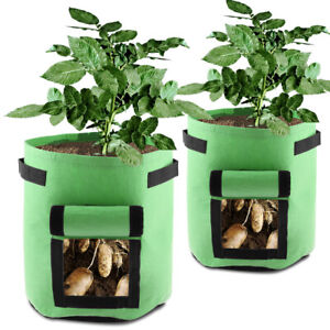 Details About 2pcs Green 7 Gallon Garden Grow Bags Durable Plant Growing Outdoor Indoor