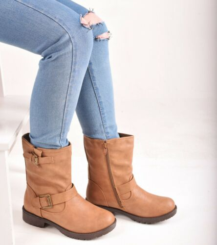 Ladies Womens Ankle Boots Low Block Heel Biker Combat Army Casual Shoes Size 3-5