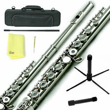 Sky Nickel Plated C Open Hole Flute w Case, Stand, Cleaning Rod, Cloth and More