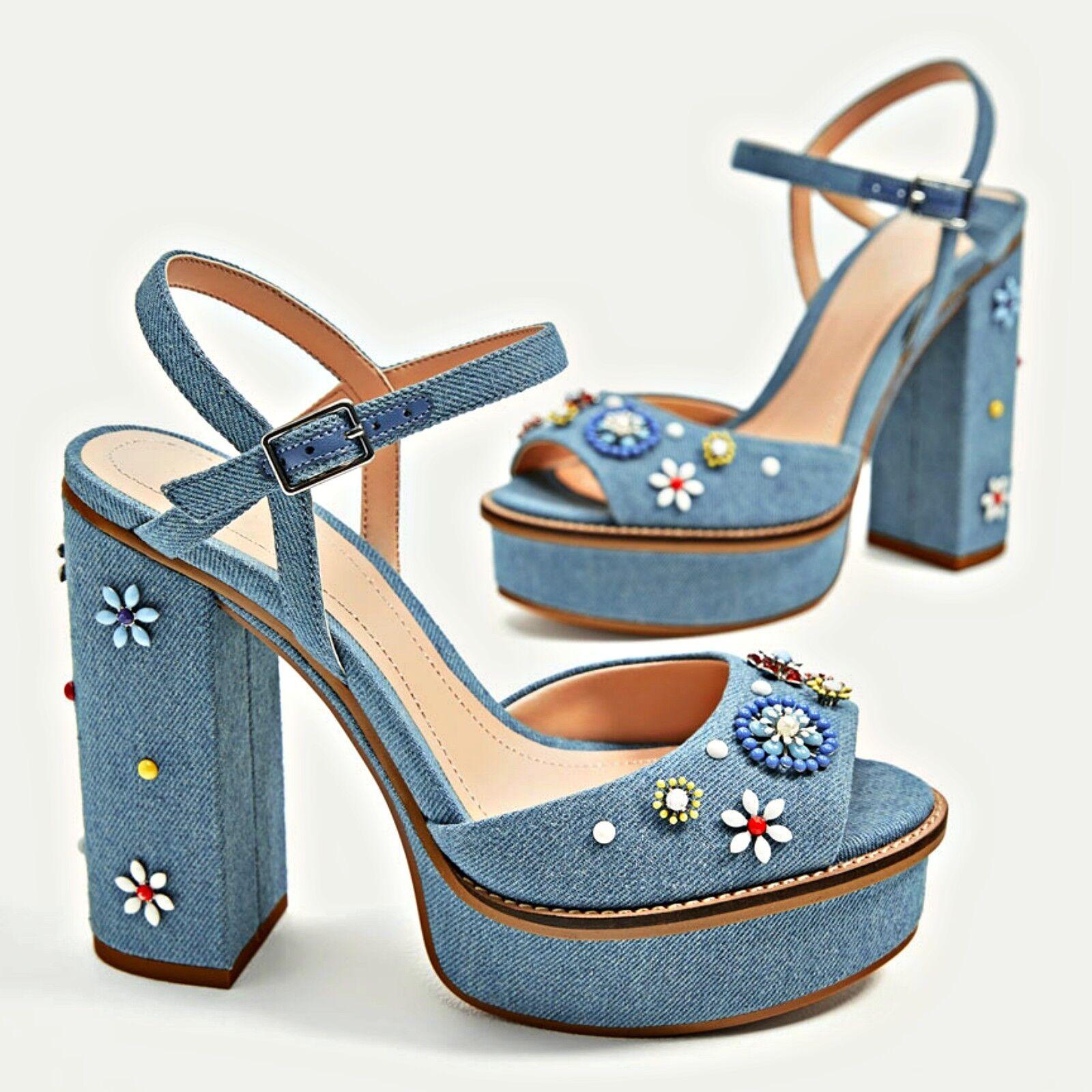 ZARA bluee Jeans Denim Floral Platform Sandals shoes Woman Authentic Authentic Authentic 1538 201 c45d70