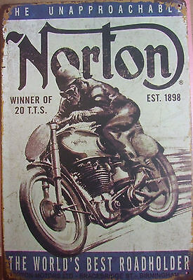 "Tin Metal Wall Art /""Norton Motorbike /"" The Worlds Best Roadholder aprox 8/""x 12/"""