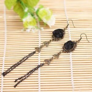 Gothic-Style-Vintage-Women-Handmade-Black-Rose-Lace-Ear-Studs-Earrings