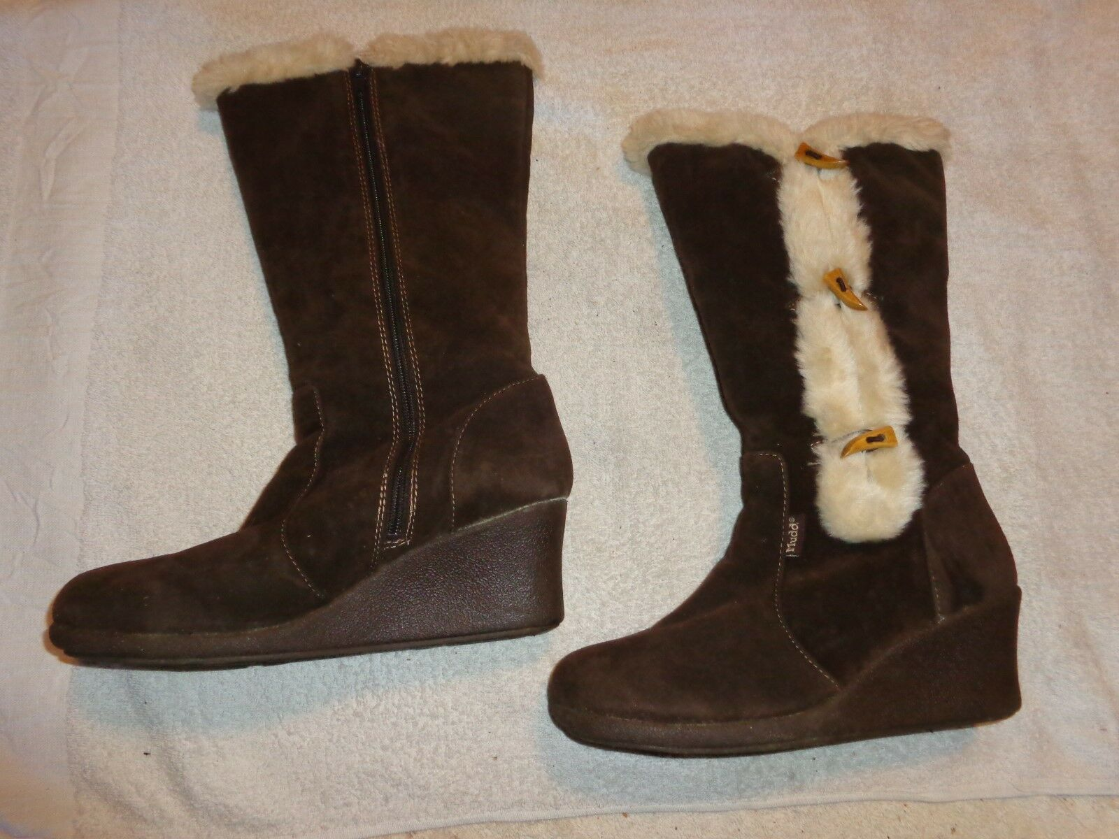 MUDD BROWN WINTER ZIPPER WEDGE BOOTS WOMENS SIZE 9 M    SOSA