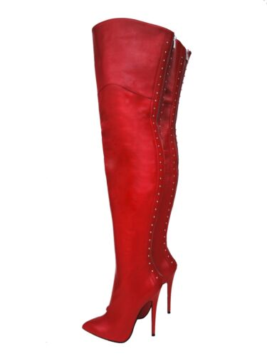 Stiefel 45 Rosso Cq Stivali Couture Overknee Zip Leather Heel Boots Red Extreme xXPx6q