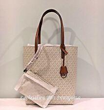 NWT Michael Kors Hayley Large N/S Vanilla/Acorn Tote MK Logo Bag $198