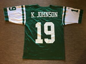 f1e8d8c3 Details about VINTAGE MADE IN USA New York Jets Jersey M Nike 19 K Johnson  NY Football NFL