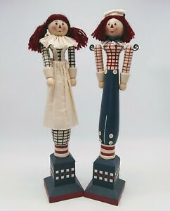 VINTAGE-WOODEN-RAGGEDY-ANN-AND-ANDY-FIGURINES-MOVEABLE-ARMS