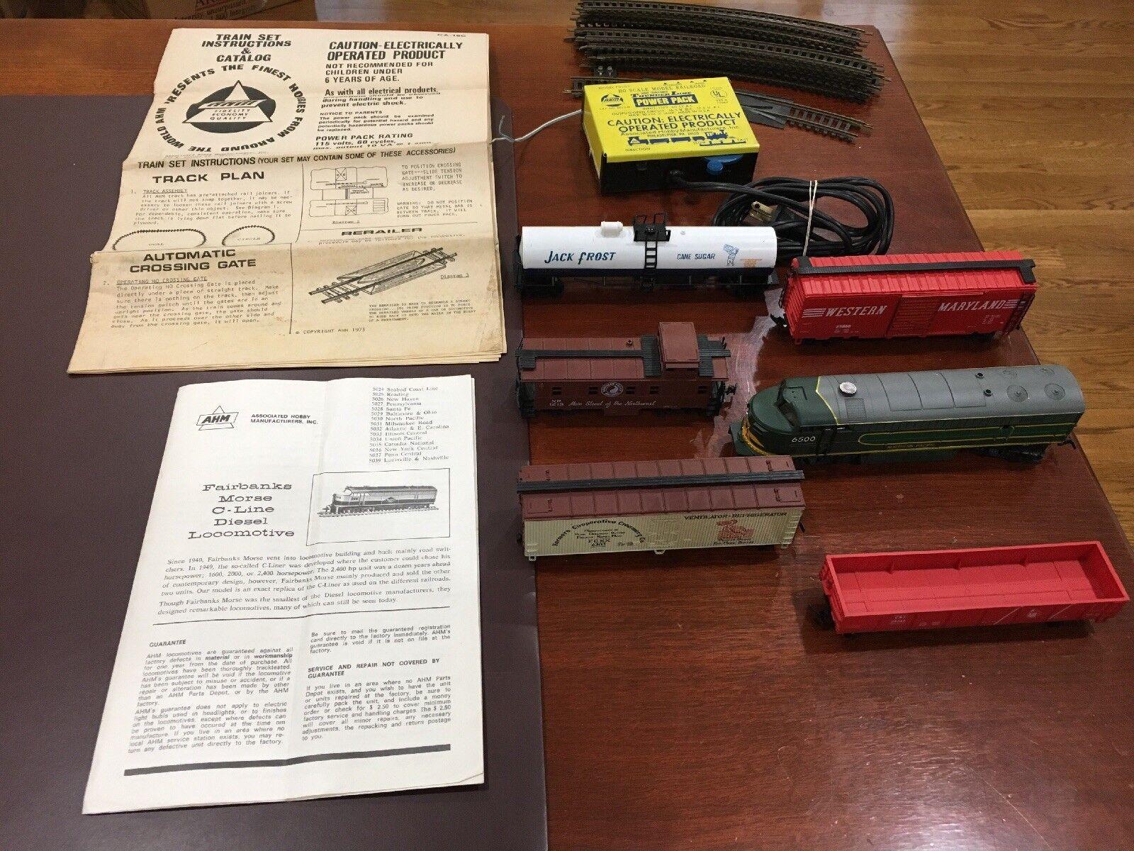 Vintage Ahm Escala HO-Locomotora, 5 coches, 12 pistas, transformador y las instrucciones