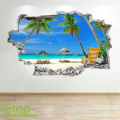MIAMI BEACH WALL STICKER 3D LOOK OCEAN SEA BEACH BEDROOM WALL DECAL Z204