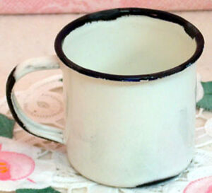 """2 Dainty White Enamelware 2 1/4"""" Cups / Mugs ~ Vintage Reproduction"""