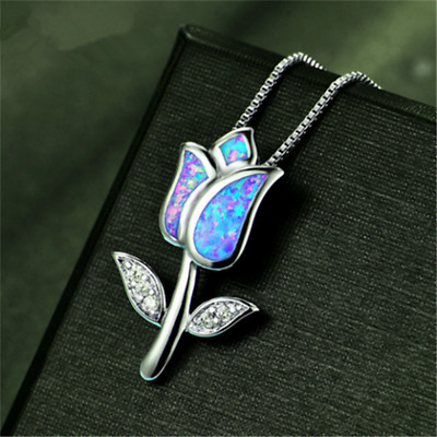 Fashion 925 Silver Jewelry Note Blue Fire Opal Charm Pendant Necklace Chain ~~!