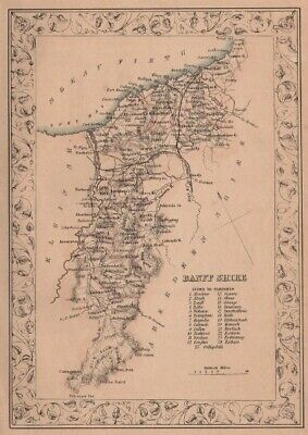 Scotland Decorative antique county map of Lanarkshire FULLARTON 1868 old