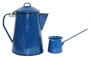 Blue Speckled Enamel Coffee Pot & Dip Cup No Coffee Grind Basket Unused Camping