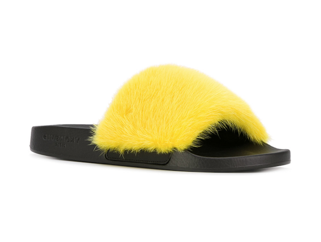 NIB Givenchy Paris Yellow yellow Mink Fur Black Mule Slide Sandal Flop Flat 39