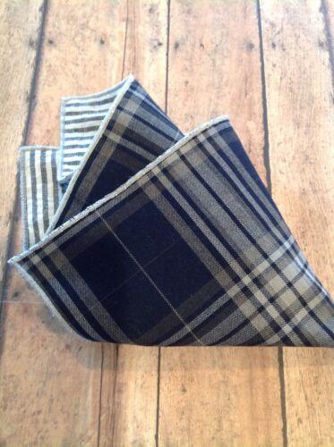 NEW Men/'s Pocket Square Navy Blue Gray Plaid Striped Reversible Gift Trim Men/'s