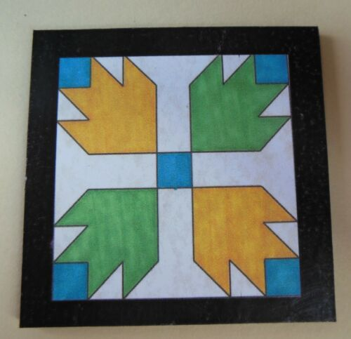 Dolhouse miniatures handcrafted wood barn quilt, bear claw yellow, green & blue