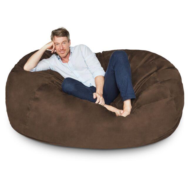 Prime Giant Bean Bag Chair Xxl Oversized Lounge Beanless Foam Filled Sofa Faux Suede Machost Co Dining Chair Design Ideas Machostcouk