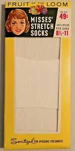 VINTAGE-1960s-FRUIT-OF-THE-LOOM-Misses-039-Stretch-Socks-NOS-Rare-2646