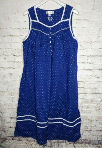 Eileen West XL Blue White Polka Dot Sleeveless Cot