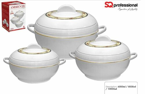 3pcs Ambiente Insulated Casserole Extra Large Hot Pots 6.8,10 Liters Set