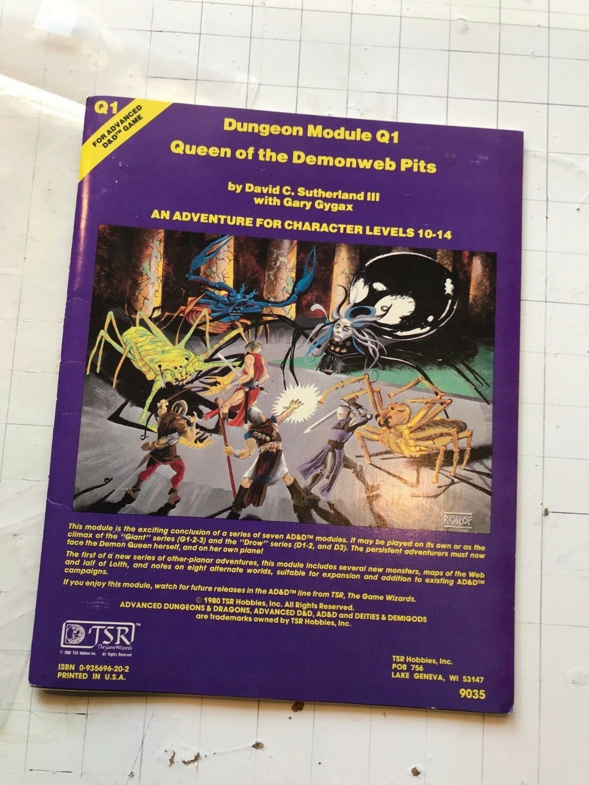 TSR AD&D 1980 Queen of the Demonweb Pits 3rd Print 1981 Q1 gary gygax module d&d