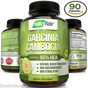 ▶ Pure Garcinia Cambogia 95% HCA Extract Best Weight Loss Diet Pills, Fat Burner
