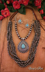 Western-Turquoise-Pendant-Navajo-Pearl-Style-Beads-Layered-Necklace-Earring-Set