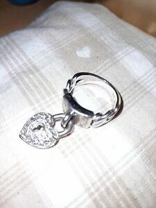 Bague coeur en argent massif 925 - cadenas coeur pavée de strass - taille 54
