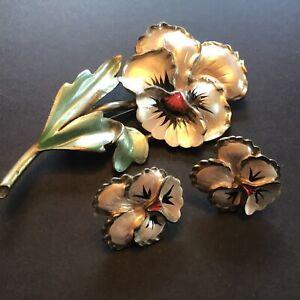 Vintage Enamel Pansy Flower Brooch Pin Clip Earring Set
