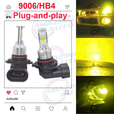 9006 HB4 LED Headlights Bulbs 55W 8000LM Set Low Beam 3000K Yellow Error Free
