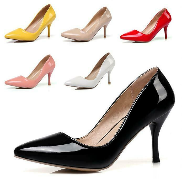 Womens Casual Slip on Pointy Toe Pumps OL Business Bridesmaid Slim Heels shoes