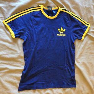 Adidas-Originals-Trefoil-California-Crew-Mens-T-Shirt-Medium-Royal-Blue-Yellow