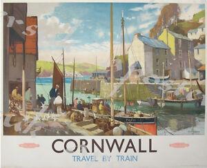 Vintage British Rail Cornwall Harbour Railway Poster A3//A4 Print