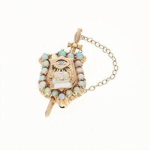 Phi-Delta-Theta-Badge-14k-Gold-Opals-Diamonds-Antique-Fraternity-Shield-Pin