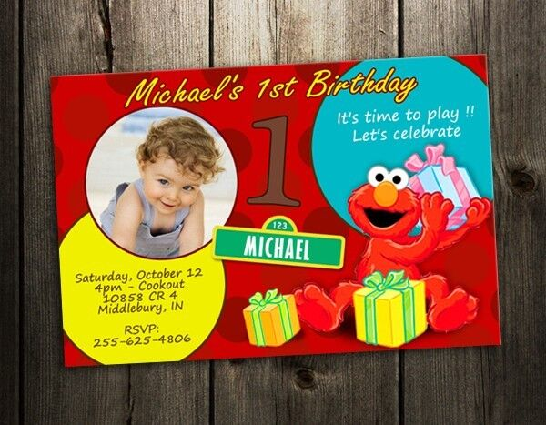 Terrific Elmo Sesame Street Party Invitation Birthday Card Baby First Funny Birthday Cards Online Inifofree Goldxyz