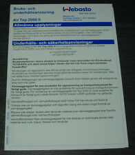 Gebruiksaanwijzing +  Onderhoudsinstructies Air Top 2000 S Webasto Verwarmer