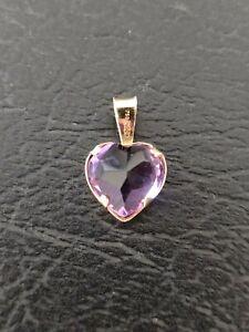 Pendentif coeur pierre rose Or 18 Carats