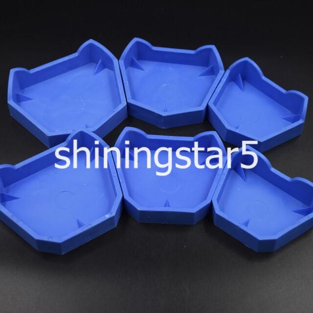 Rubber Dental Lab Plaster Model Former Base Molds Set Blue - 6 Pcs/Set S/M/L U/L