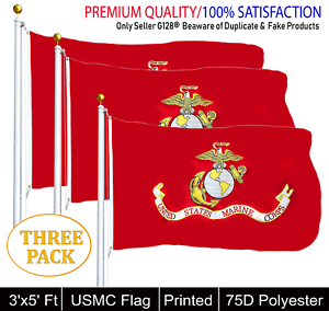 THREE PACK USMC United State Marine Corps Flag 3 X 5 With Brass Grommets
