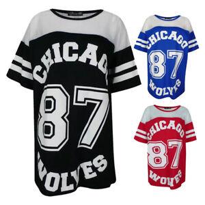 Ladies Chicago 87 Wolves Print Baseball Varsity American Mesh Baggy top T-Shirt