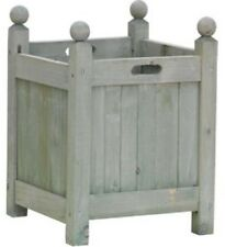 Rustic Vintage Green Wood Wooden Square Garden Patio Flower Plant Planter NEW