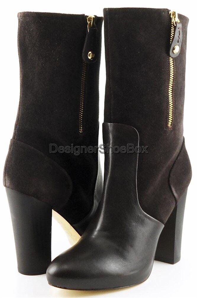 355 Juicy Juicy 355 Couture Randi T. Moro Cuero De Gamuza Diseñador Mitad de Pantorrilla botas 7 5bfafd