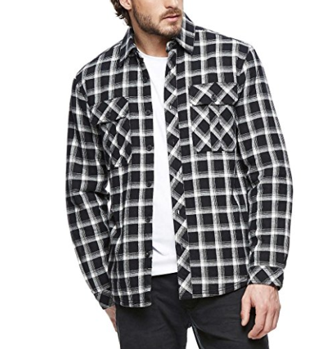 Boston Traders Mens Flannel Jacket Shirt with Fleece Lining