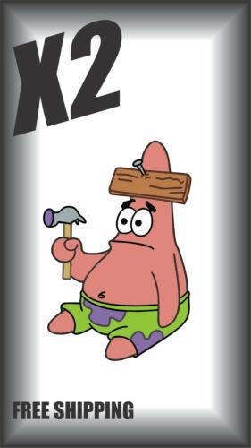 X2 Patrick Confused Funny Spongebob Sticker Decal Window Wall book Bottle Coffee