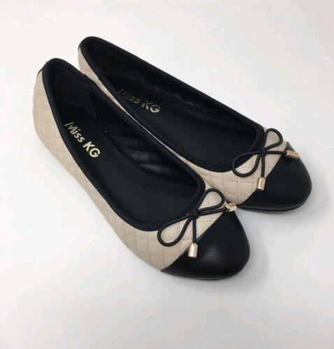 MISS KG Maye Quilted Ballerina Court Shoes UK 3 7 4 6 8 Cream /& Black 5