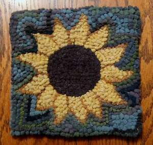 Image Is Loading Sunflower Primitive Rug Hooking Kit With 8 Cut