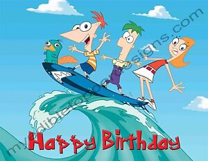 Image Is Loading Phineas Amp Ferb Personalized Edible Print Cake Topper