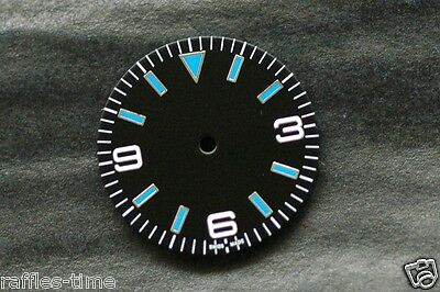 Plain Explorer Watch Dial for DG 2813  Miyota 8200 Movement Blue lume Markers